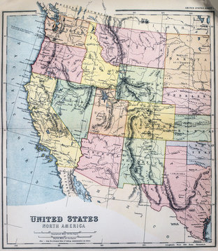 Victorian era map of Western States of USA