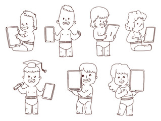 Vector Set of babies with a tablet, line art. Line cartoon image of babies: cute little boys and girls with tablets in their hands on a white background.