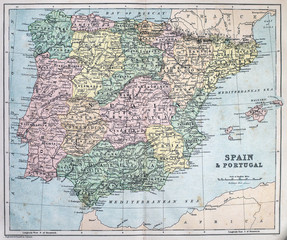 Map of 19th Century Spain and Portugal