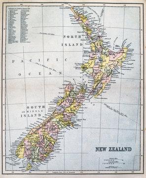 Victorian-era map of New Zealand