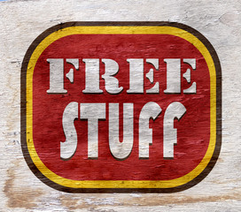 frees stuff sign on wood texture