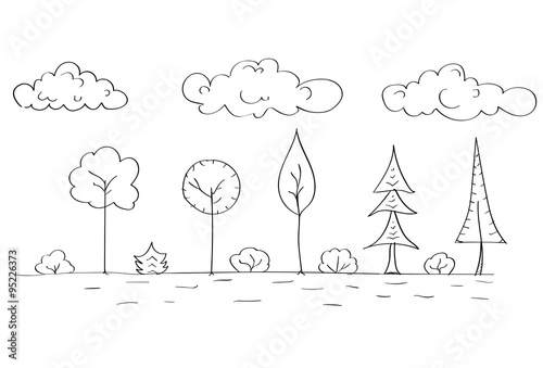 quotforest tree woods sketch simple line child hand drawing