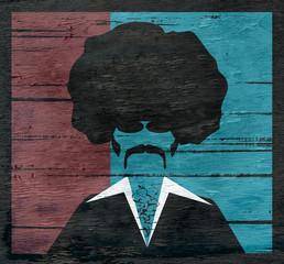 retro man with afro on wood grain texture