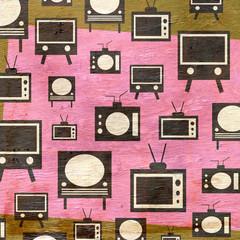 retro television design with wood grain texture