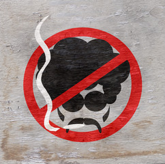 smoking prohibited sign on wood grain texture