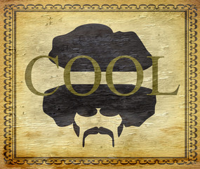 cool afro sign design with wood grain texture