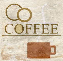 coffee sign with wood grain texture
