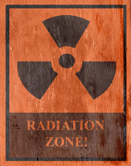 radiation zone sign with wood grain texture