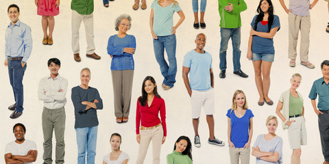 Group of Diverse Colorful Cheerful People Concept