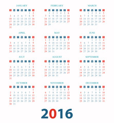 Calendar for 2016 on White Background.