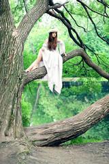 Beautiful woman in wonderland / beautiful, young woman walking in the park