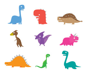 Dinosaur cartoon collection has dinosaur 9 type for use in kids artwork or other job.