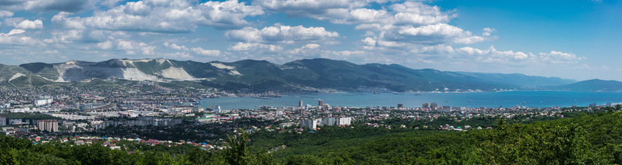A panoramic view of Novorossiysk, Russia and Tsemes Bay from the top of Kabakhaha mountain