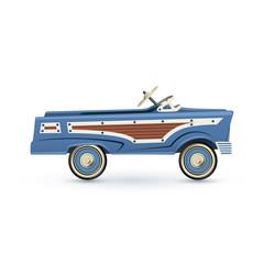 Vintage, old blue toy pedal car.