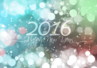 Happy New Year 2016 on Bokeh Light Background