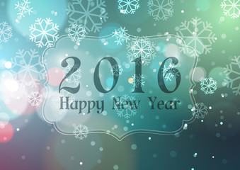 Happy New Year 2016 on Bokeh Light with Snowflakes Background