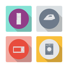 Buttons with shadow. Fridge icon. Steam iron icon. Microwave vector icon. kitchen equipment. Washing machine icon.