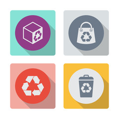 Buttons with shadow. Box with recycle sign vector icon. Shopping bag with recycle sign vector icon. Recycle sign vector icon. Recycle bin vector icon. Reuse or reduce symbol.