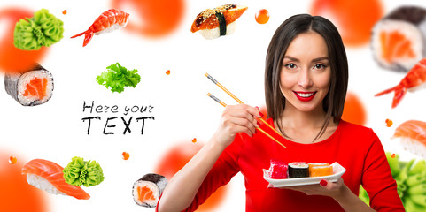 Black-haired girl eating sushi with a chopsticks, isolated on white