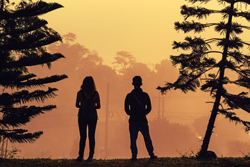 A girl and man silhouetted against a sunset sky on pine tree