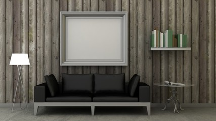 Empty picture frames in classic interior background on the decorative vintage wooden wall with concrete floor. Copy space image. 3d render