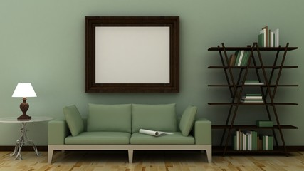 Empty picture frames in classic interior background on the decorative painted wall with wooden floor. Copy space image. 3d render