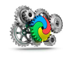 Colorful gear wheels - teamwork concept