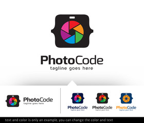Photo Code Logo Template Vector Design