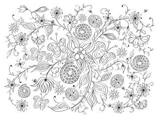 Çizimsel Çiçek Sarmalı