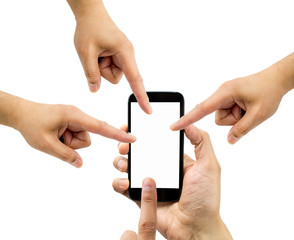 all people pointing the smartphone