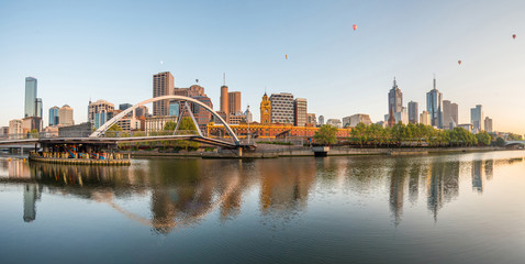 Melbourne city the most liveable city in the world in Victoria state, Australia.