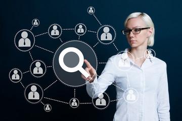 Search web loupe businesswoman communication virtual