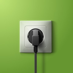 Realistic electric plastic white socket and black plug with transparent shadow on green wall background