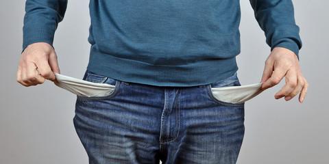 kein Geld, leere Taschen, Wirtschaftskrise