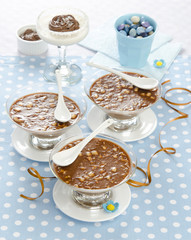 panna cotta with chocolate and nuts