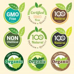 GMO Free Non GMO and organic guarantee tag label emblem sticker