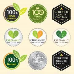 GMO Free Non GMO and organic guarantee tag logo label emblem sti