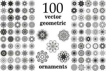 Round geometric ornaments set. 100 vector spirographs