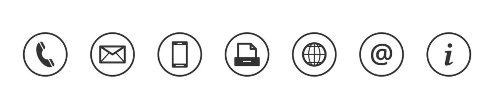 Kontakt Icons Buttons Grau