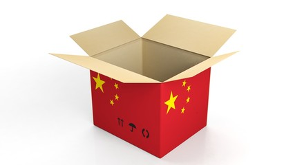 Carton box with China national flag, isolated on white background.