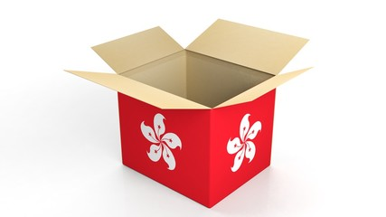 Carton box with Hong Kong national flag, isolated on white background.