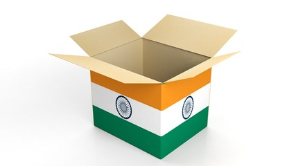 Carton box with India national flag, isolated on white background.