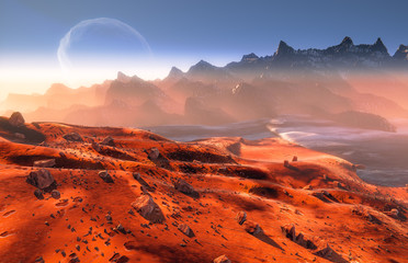 Mars - martian landscape. Phobos moon above mountains