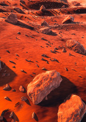 Mars - red rocks, dunes and large stones