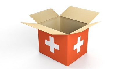 Carton box with Switzerland national flag, isolated on white background.