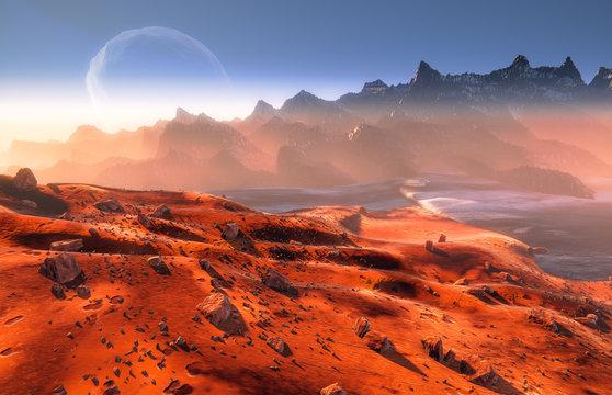 Mars - martian landscape. Phobos moon above mountains