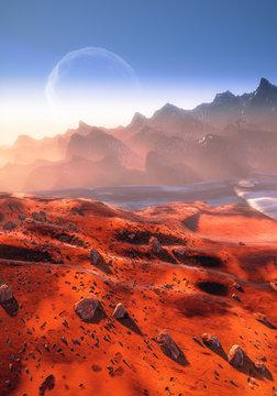 Martian landscape and Phobos moon
