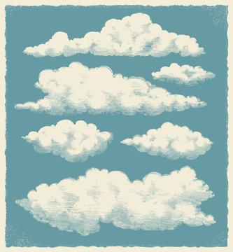 Vintage cloud set. Retro sky background vector design