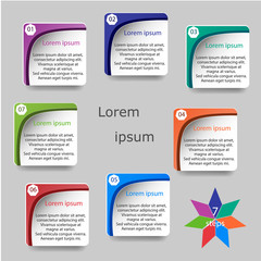 Colorful infographics template for business with 7 options or steps. Vector illustration can be used for infographic, banner, poster, web design, brochure, diagram, graph, presentation and chart