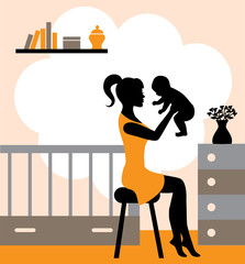 young woman sitting on a stool and raises the baby in his arms. In the background, the interior nursery.